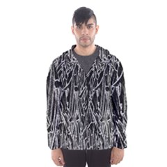 Gray Background Pattern Hooded Wind Breaker (men)