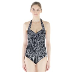 Gray Background Pattern Halter Swimsuit by Simbadda