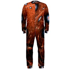 Fractal Peacock World Background Onepiece Jumpsuit (men)  by Simbadda