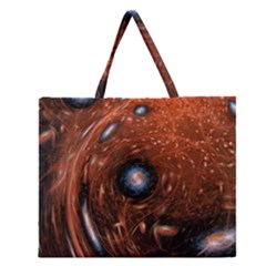 Fractal Peacock World Background Zipper Large Tote Bag by Simbadda