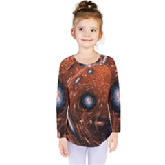 Fractal Peacock World Background Kids  Long Sleeve Tee by Simbadda