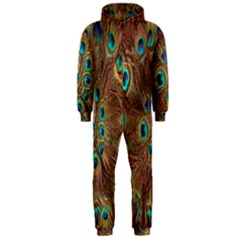Peacock Pattern Background Hooded Jumpsuit (men)