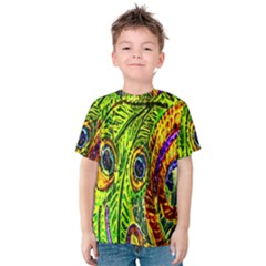 Glass Tile Peacock Feathers Kids  Cotton Tee