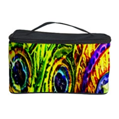 Glass Tile Peacock Feathers Cosmetic Storage Case