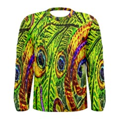 Glass Tile Peacock Feathers Men s Long Sleeve Tee