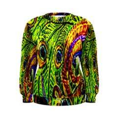Glass Tile Peacock Feathers Women s Sweatshirt