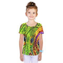 Glass Tile Peacock Feathers Kids  One Piece Tee by Simbadda