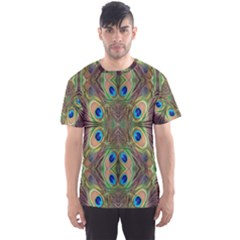 Beautiful Peacock Feathers Seamless Abstract Wallpaper Background Men s Sport Mesh Tee