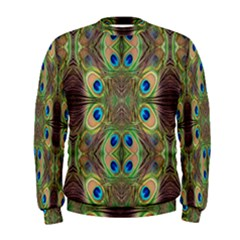 Beautiful Peacock Feathers Seamless Abstract Wallpaper Background Men s Sweatshirt by Simbadda
