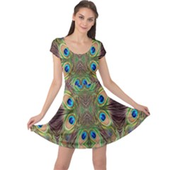 Beautiful Peacock Feathers Seamless Abstract Wallpaper Background Cap Sleeve Dresses by Simbadda