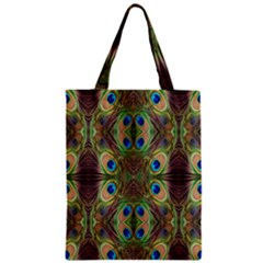 Beautiful Peacock Feathers Seamless Abstract Wallpaper Background Zipper Classic Tote Bag by Simbadda