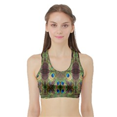 Beautiful Peacock Feathers Seamless Abstract Wallpaper Background Sports Bra With Border by Simbadda