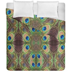 Beautiful Peacock Feathers Seamless Abstract Wallpaper Background Duvet Cover Double Side (california King Size) by Simbadda