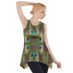 Beautiful Peacock Feathers Seamless Abstract Wallpaper Background Side Drop Tank Tunic by Simbadda