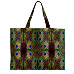 Beautiful Peacock Feathers Seamless Abstract Wallpaper Background Medium Tote Bag