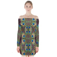 Beautiful Peacock Feathers Seamless Abstract Wallpaper Background Long Sleeve Off Shoulder Dress