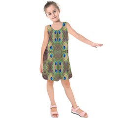 Beautiful Peacock Feathers Seamless Abstract Wallpaper Background Kids  Sleeveless Dress by Simbadda