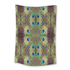 Beautiful Peacock Feathers Seamless Abstract Wallpaper Background Small Tapestry by Simbadda