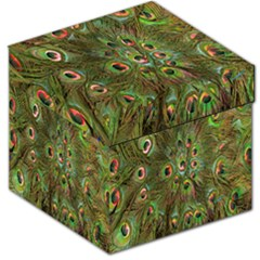 Peacock Feathers Green Background Storage Stool 12   by Simbadda