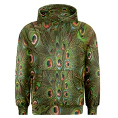 Peacock Feathers Green Background Men s Pullover Hoodie by Simbadda