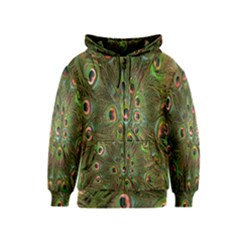 Peacock Feathers Green Background Kids  Zipper Hoodie