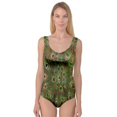 Peacock Feathers Green Background Princess Tank Leotard