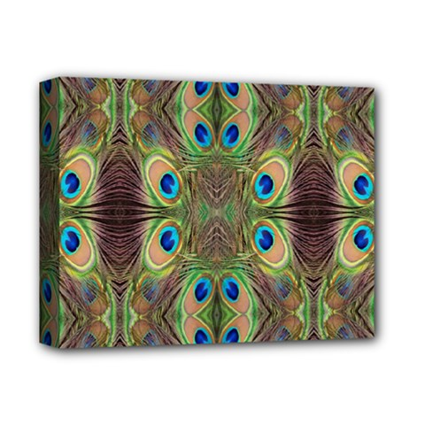 Beautiful Peacock Feathers Seamless Abstract Wallpaper Background Deluxe Canvas 14  X 11  by Simbadda