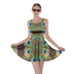 Beautiful Peacock Feathers Seamless Abstract Wallpaper Background Skater Dress
