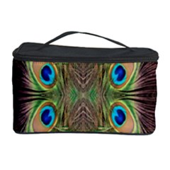 Beautiful Peacock Feathers Seamless Abstract Wallpaper Background Cosmetic Storage Case by Simbadda