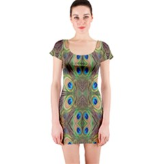 Beautiful Peacock Feathers Seamless Abstract Wallpaper Background Short Sleeve Bodycon Dress by Simbadda