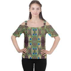 Beautiful Peacock Feathers Seamless Abstract Wallpaper Background Women s Cutout Shoulder Tee by Simbadda