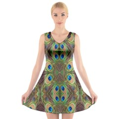 Beautiful Peacock Feathers Seamless Abstract Wallpaper Background V Neck Sleeveless Skater Dress by Simbadda