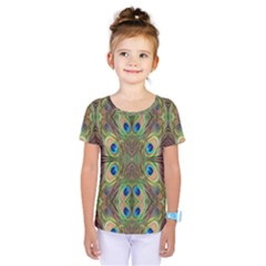 Beautiful Peacock Feathers Seamless Abstract Wallpaper Background Kids  One Piece Tee by Simbadda
