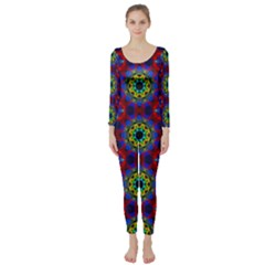 Abstract Pattern Wallpaper Long Sleeve Catsuit