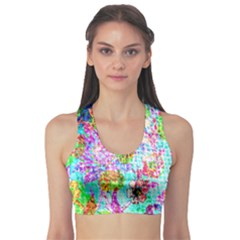 Bright Rainbow Background Sports Bra by Simbadda