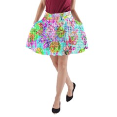 Bright Rainbow Background A Line Pocket Skirt