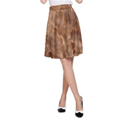 Brown Seamless Animal Fur Pattern A Line Skirt
