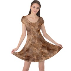 Brown Seamless Animal Fur Pattern Cap Sleeve Dresses by Simbadda