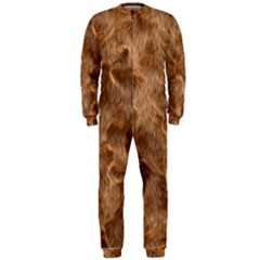 Brown Seamless Animal Fur Pattern Onepiece Jumpsuit (men)  by Simbadda