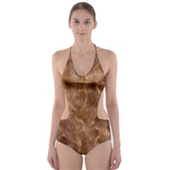 Brown Seamless Animal Fur Pattern Cut Out One Piece Swimsuit