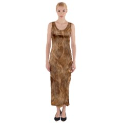 Brown Seamless Animal Fur Pattern Fitted Maxi Dress by Simbadda