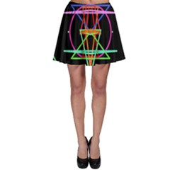 Drawing Of A Color Mandala On Black Skater Skirt