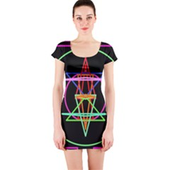 Drawing Of A Color Mandala On Black Short Sleeve Bodycon Dress by Simbadda