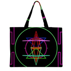 Drawing Of A Color Mandala On Black Medium Tote Bag by Simbadda