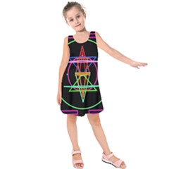 Drawing Of A Color Mandala On Black Kids  Sleeveless Dress by Simbadda