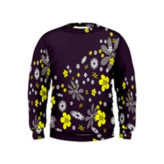 Vintage Retro Floral Flowers Wallpaper Pattern Background Kids  Sweatshirt