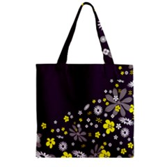 Vintage Retro Floral Flowers Wallpaper Pattern Background Zipper Grocery Tote Bag by Simbadda