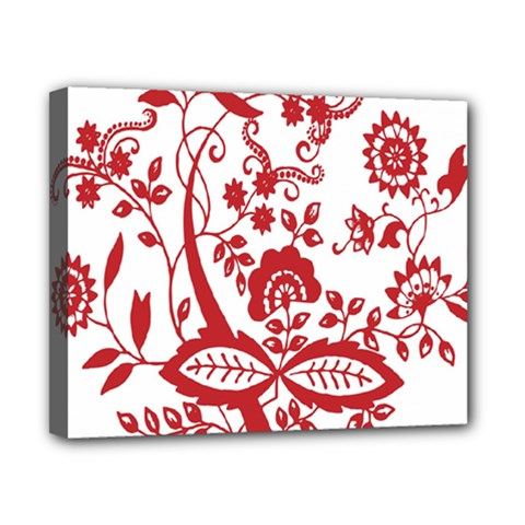 Red Vintage Floral Flowers Decorative Pattern Clipart Canvas 10  X 8  by Simbadda