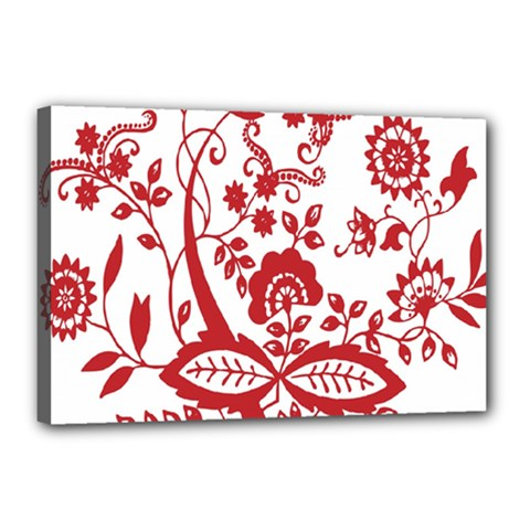 Red Vintage Floral Flowers Decorative Pattern Clipart Canvas 18  X 12
