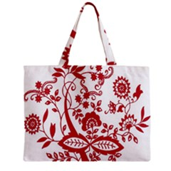 Red Vintage Floral Flowers Decorative Pattern Clipart Zipper Mini Tote Bag by Simbadda
